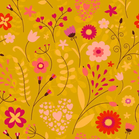 Cute colorful floral seamless pattern in children\'s style