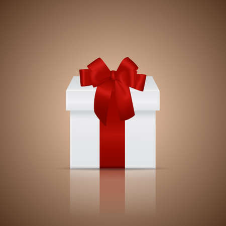 donative: White gift box with red ribbon and bow on a glossy surface. Vector illustration