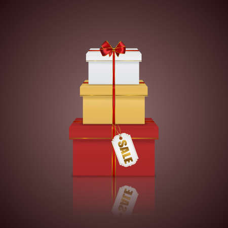 glittery: Realistic gift boxes colorful stack tower with red ribbon, bow and sale tag
