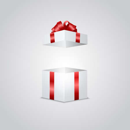 gold gift box: Realistic white gift box with magic light effect inside. Isolated.