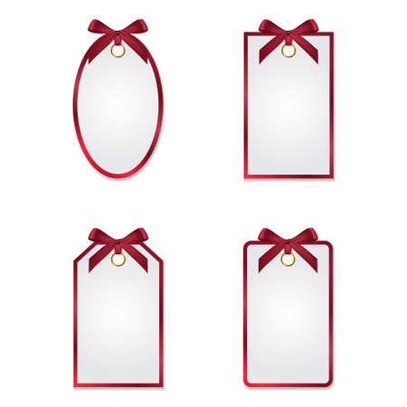 red ribbon bow: Set of different tags with red silk bows and frames
