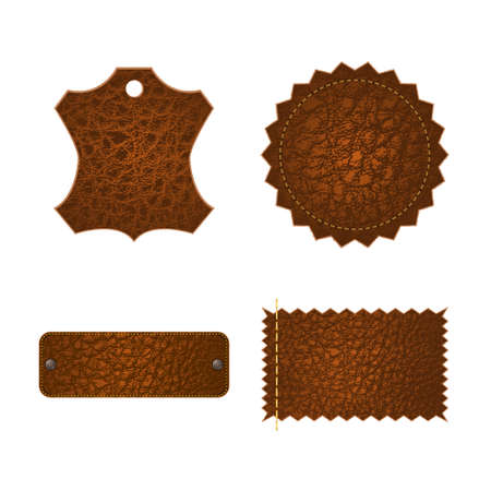 Set of four different leather tag labels.   Vector
