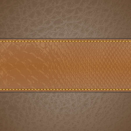 Brown leather stripe on beige leather background
