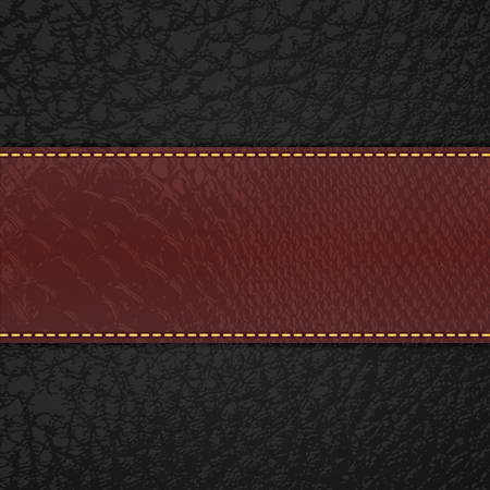 cowhide: Red leather stripe on black leather background  Illustration