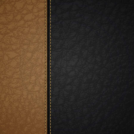 leather background with a brown and black stripes and stitches Vector