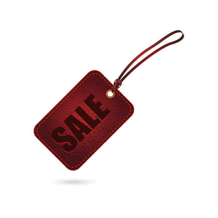 Red vintage leather sale tag. Vector illustration. Vector