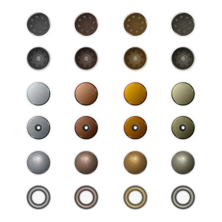 Set of realistic different metal jeans buttons and rivets. Illustration