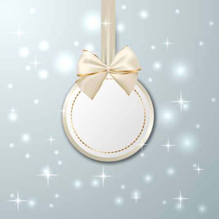 Christmas paper card with paper ball and realistic silver and golden bow. Winter background. Vector illustration.