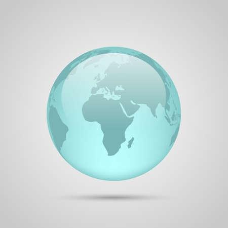 gaia: Realistic glass globe on grey background.