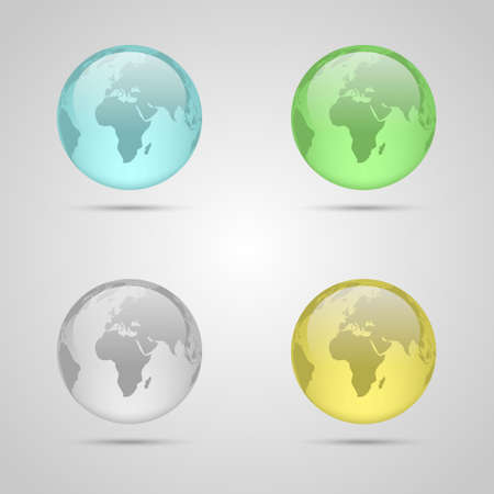 Set of four glass planet earths Vector