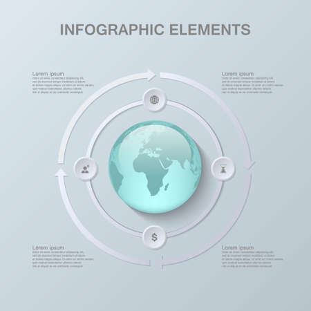 maintainability: Modern infographic design with 3D globe and paper elements