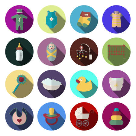 Sixteen newborn baby icons set in flat design style. Vector illustration. Vector