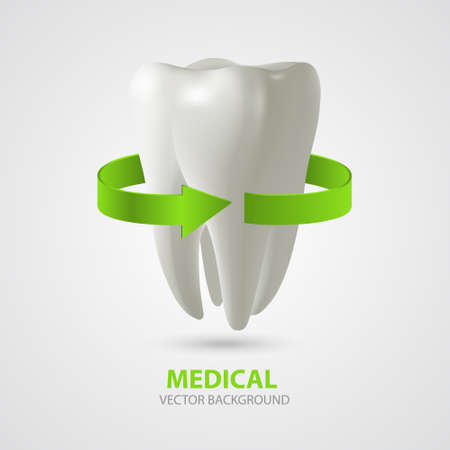 Vector three-dimensional tooth with green arrow sign. Medical background 일러스트