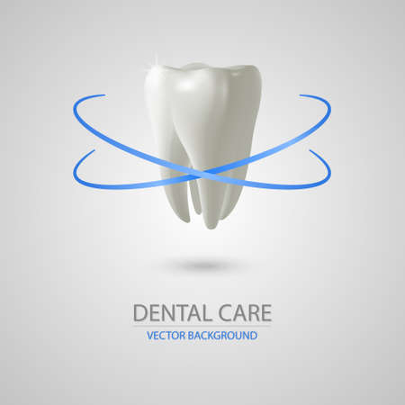 preening: Dental care background wit realistic tooth. Vector illustration.