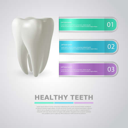 carious cavity: Dentistry info background with big realistic tooth and three colorful stripes - templates for infographics. Vector Illustration