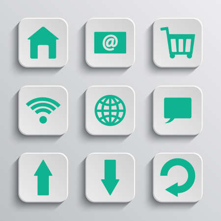 android: Set of nine paper app buttons. Vector icons.