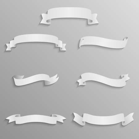 neckband: Seven vector realistic banners or ribbons from paper.