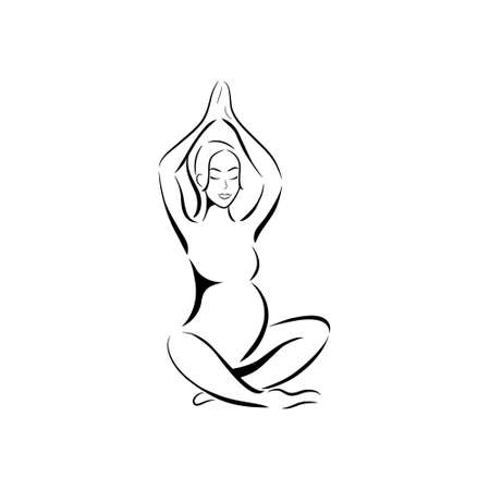 Joga dla kobiet w ciąży. Sylwetka kobiety w ciąży na białym tle. Ilustracji wektorowych.