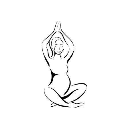 Yoga para la mujer embarazada. Silueta de la mujer embarazada sobre fondo blanco. Ilustración del vector.