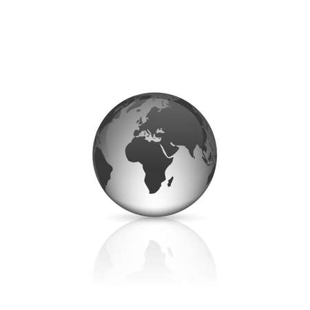 terra: Realistic glass globe with reflection on white background.