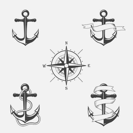 ancre marine: Ensemble de motifs vecteur vintage sur le th�me nautique. Ic�nes et �l�ments de conception.