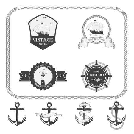 water anchor: Set of vector vintage nautical labels, icons and design elements Illustration