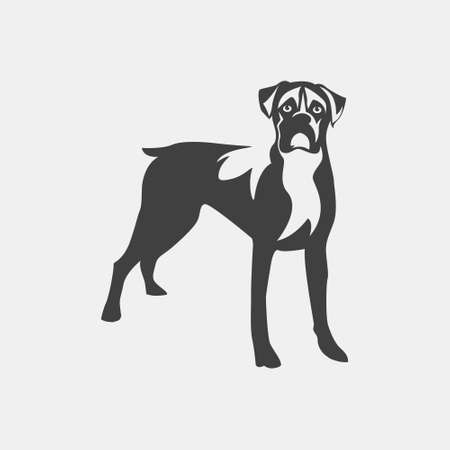 dog pen: Vector image of an dog boxer on white background.