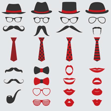 Fiesta retro set - Gafas, sombreros, labios, bigotes, corbatas y tubería - para el diseño, cabina de fotos, libro de recuerdos en el vector