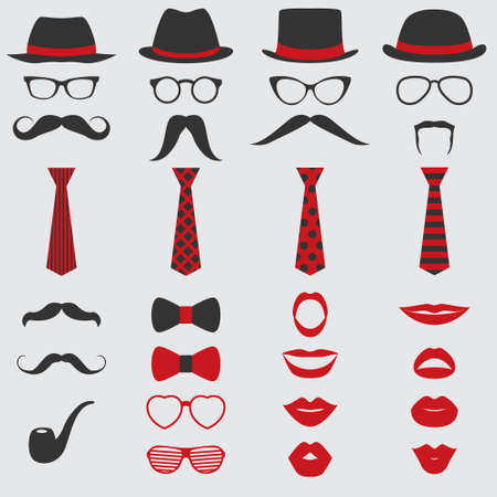 photo of accessories: Retro Party set - Glasses, hats, lips, mustaches, ties and pipe - for design, photo booth, scrapbook in vector