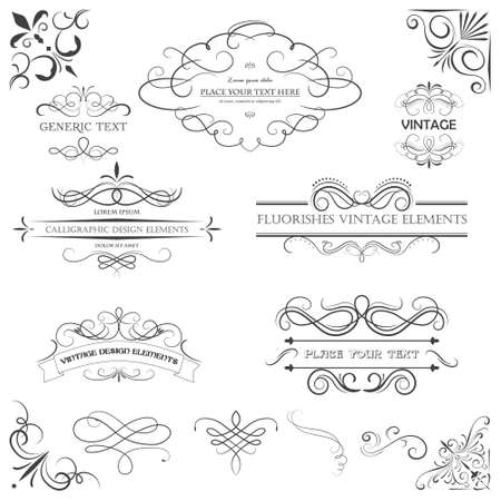 Vector vintage style elements. Vintage handwritten flourishes, patterns and ornaments.  イラスト・ベクター素材