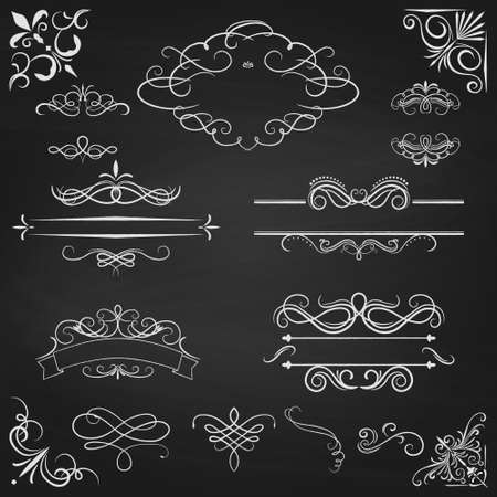 Vintage borders calligraphic set. Ornate design elements. Vector illustration.