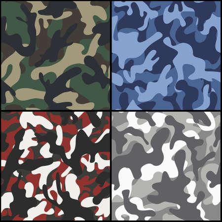 Set van vier naadloze camouflage stof patronen. Vector illustratie.