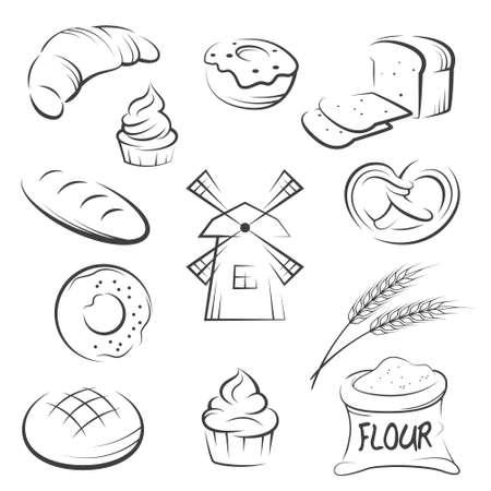 Set van de hand tekenen bakkerij pictogrammen. Vector illustratie.