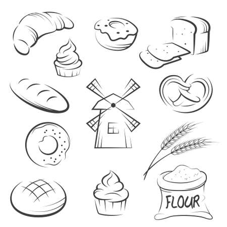 Set of hand drawing bakery icons. Vector illustration.