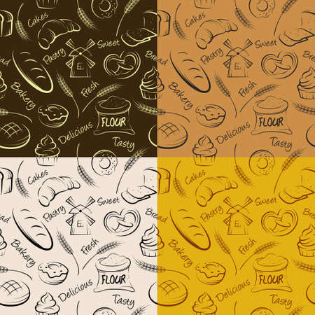 eclair: Vector hand drawn pastries seamless pattern. Can be used as a wrapping paper.