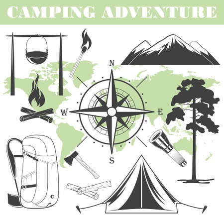 outdoor fire: Set of black and white camping elements. Vector silhouettes.