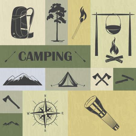 cerillos: Conjunto de iconos retro para acampar. S�mbolos de los equipos. Ilustraci�n del vector. Vectores