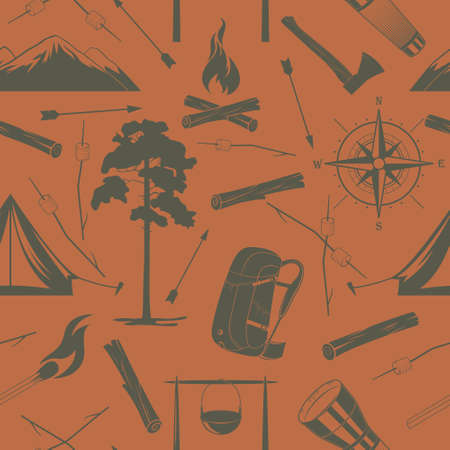 hiking trail: Vector seamless camping pattern at the orange background.