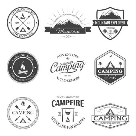 camp fire: Set of transparent camping labels and badges. Vector illustration.