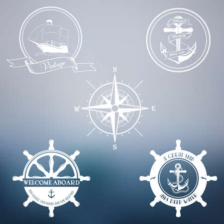 Set of vintage marine stamps. Vector retro nautical badges. Vector