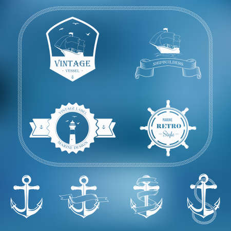 wanderer: Set of nautical and maritime adventure vector labels and anchors .Logotype templates and badges.