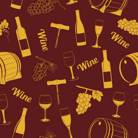 simbols: Vector seamless pattern with wine simbols for restaurant or bar menu and wrapping