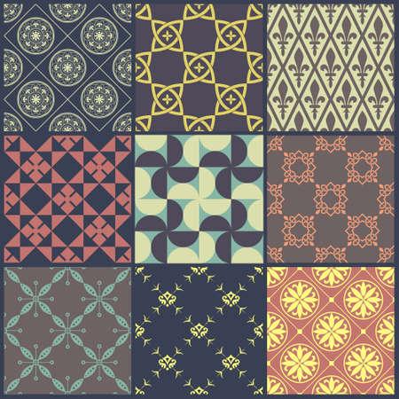 Set of nine vintage seamless backgrounds. Vector illustration. Vector