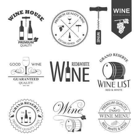Vector set of wine black and white labels isolated on white.