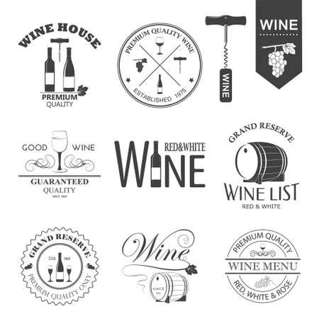 Vector set van wijn zwart en wit etiketten op een witte. Stock Illustratie
