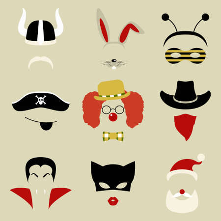 fake mustaches: Set of nine Retro Party masks for photo booth and scrapbooking. Vector illustration. Illustration