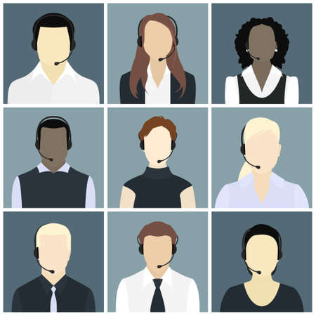 call center office: Vector icons set Male and female call center avatars in a flat style with a headset, conceptual of communication, client services, telemarketing, business Illustration