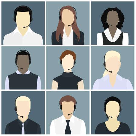 Zestaw ikon wektorowych Mężczyzna i Kobieta call center awatary w płaskim stylu z zestawem słuchawkowym, koncepcyjne komunikacji, obsługi klienta, telemarketingu biznesu