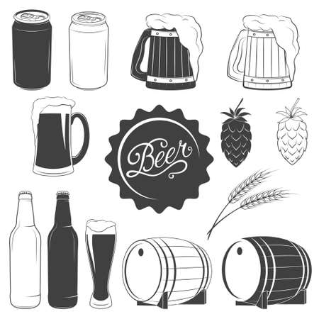 botellas de cerveza: Vector iconos monocrom�ticos cerveza set - lata de cerveza, jarra de cerveza, vidrio de cerveza, el l�pulo, el trigo, la botella de cerveza, barril