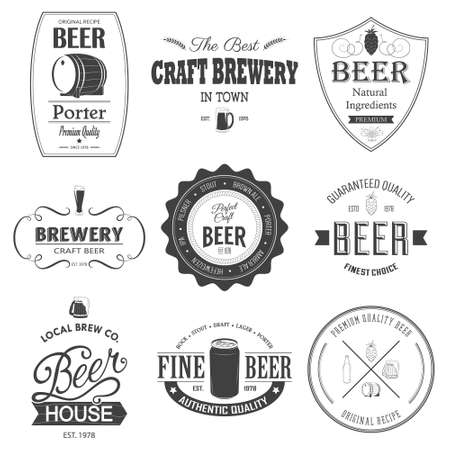 stamps: Retro set styled label of beer. Monochrome beer badges.